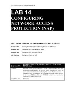 Lab 14 COnfiguring Network Access Protection (NAP)
