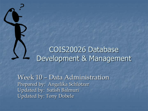 Lecture11 - Data Administration