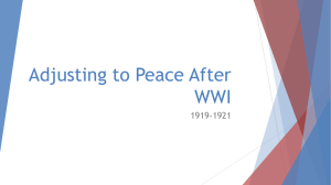 Adjusting to Peace after WWI PPT