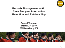Raytheon Workshop: Records Management - 911