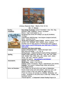 Literacy Classroom News – Week of Oct 12