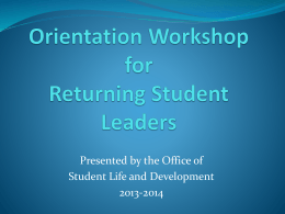 Orientation and Event Planning Workshop for Experienced Event