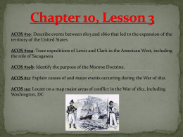 Chapter 10 Lesson 3 The War of 1812