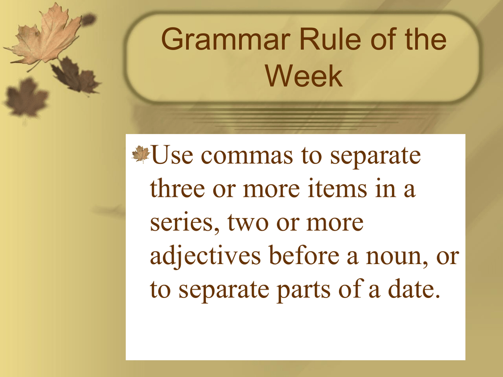 grammar rule of the week