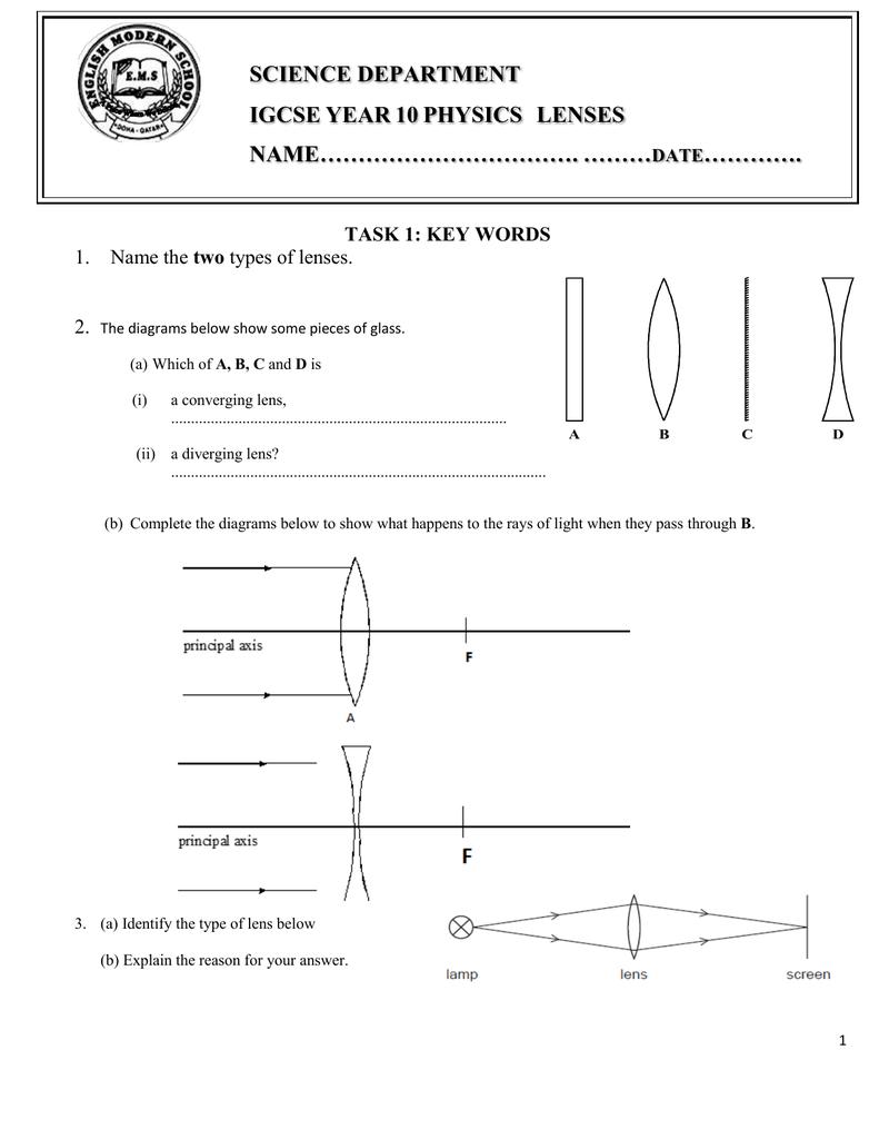 Lenses Worksheet