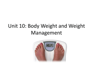 Unit 10: Body Weight and Weight Management