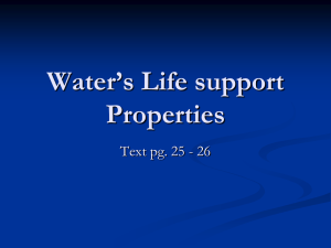 Water's Life support Properties