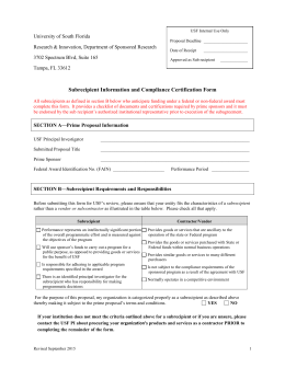 Subrecipient Information and Compliance Certification Form