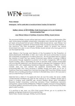 Jean Wiener receives 2015 Goldman Environmental Prize
