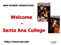 New Student Orientation Fall 2014 - Revised 1.5.15