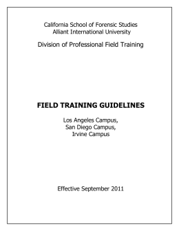 CSFS Field Training Guidelines - Alliant International University
