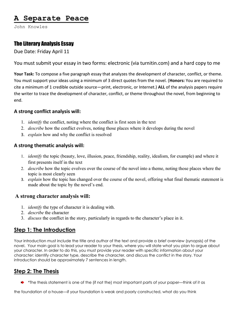 A Separate Peace Summary & Study Guide