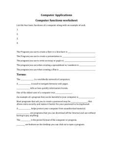 Computer Applications & Functions Worksheet