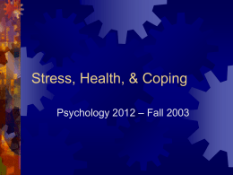 Stress, Health, & Coping