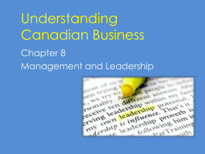Chapter 8 - Management & Leadership