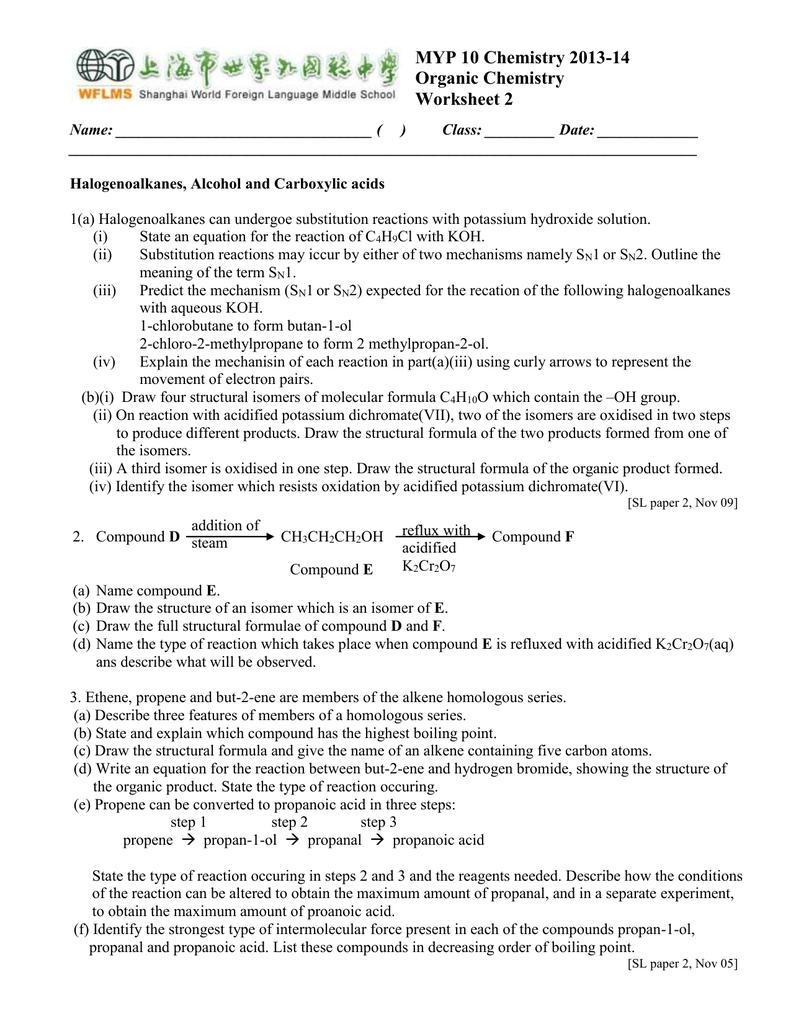 MYP 10 Chemistry 2013-14 Organic Chemistry Worksheet 2