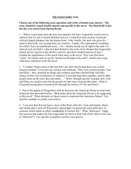the great gatsby essay the great gatsby essay test