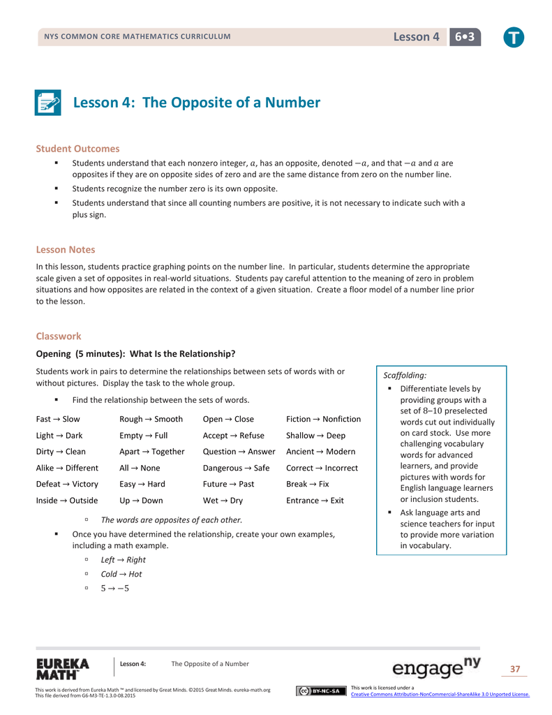 Grade 6 Mathematics Module 3, Topic A, Lesson 4