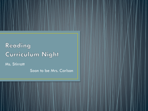 Reading Curriculum Night