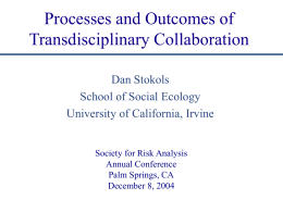Processes and Outcomes of Transdisciplinary Collaboration