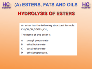 hydrolysis of esters