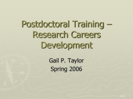 Research Career Developments