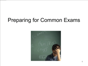 Presentation: Preparing for Common Exams
