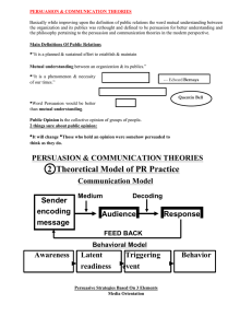 PERSUASION & COMMUNICATION THEORIES 2 Theoretical
