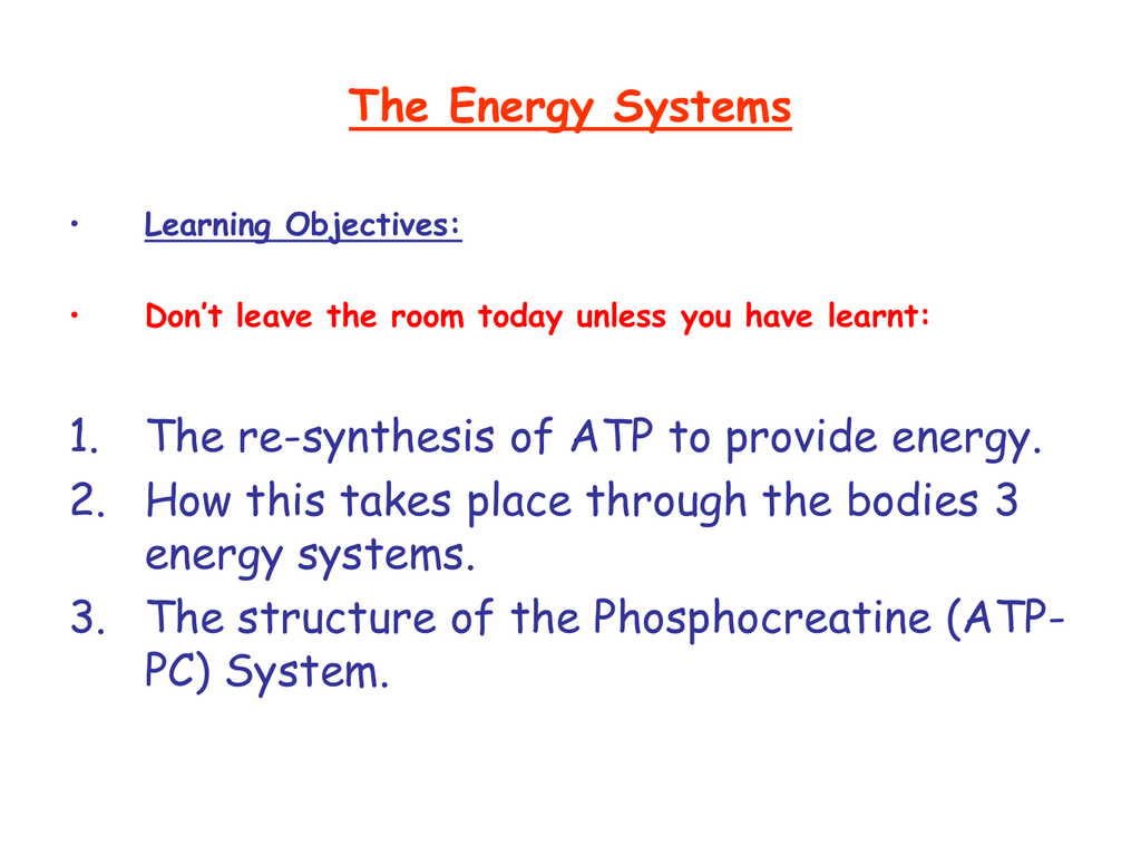 atp resynthesis energy systems Anaerobic system, the atp – pcr system is the main energy provider for a high intensity exercise  to resynthesize atp, the body uses phosphocreatine (pcr).