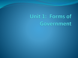 Unit 1: Forms of Government