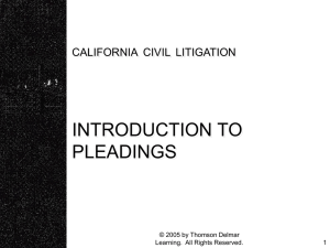 Chapter 7 - Introduction to Pleadings - Delmar
