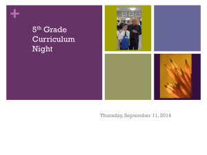 5th Grade Curriculum Night - Our Lady of Guadalupe Catholic School