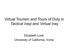 virtual tourism and tours of duty in tactical iraqi and