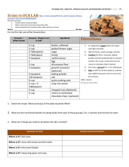 Lab Procedures - Review/Granola Bar Recipe