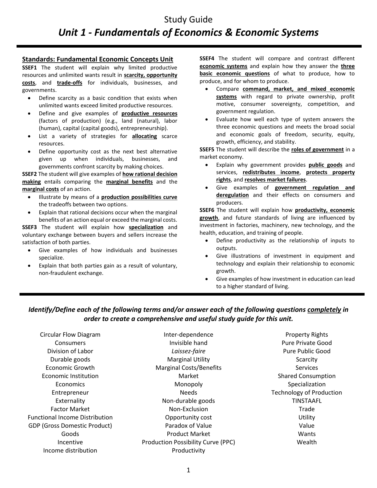 Unit 1 fundamentals of economics economic systems pooptronica