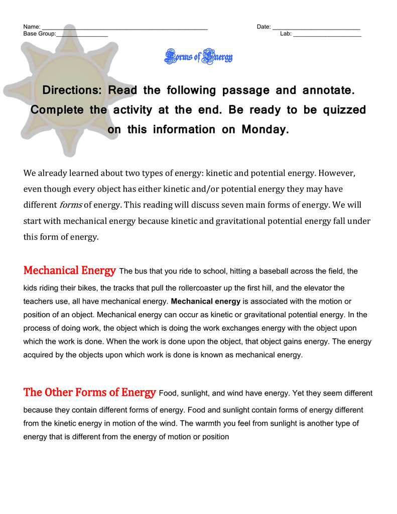 Complete Forms of Energy Reading and Worksheets