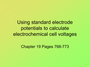 Using standard electrode potentials to calculate electrochemical cell