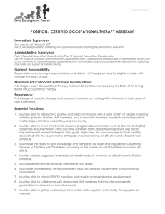 Position: Certified Occupational Therapy Assistant