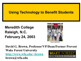 Slide 1 - Wake Forest Student, Faculty and Staff Web Pages