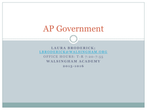 AP Government - Walsingham Academy