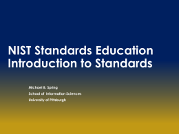 Introduction to Standards - University of Pittsburgh