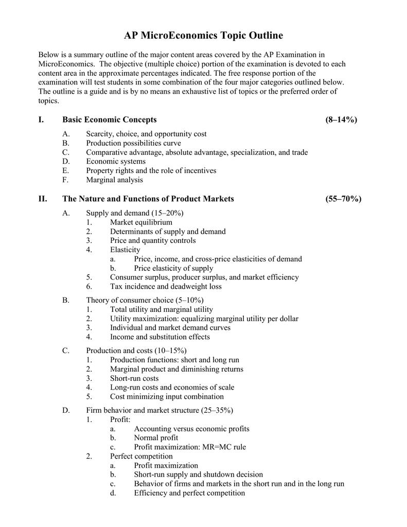 Microeconomics Essay Topics - | TopicsMill