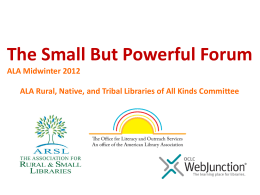 ALA Rural, Native, and Tribal Libraries of All Kinds