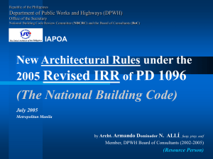Architectural Rules Under the 2005 Revised IRR of the NBC (PD1096)