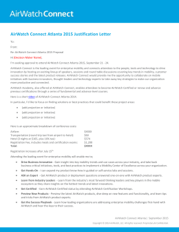 AirWatch Connect Atlanta 2015 Justification Letter
