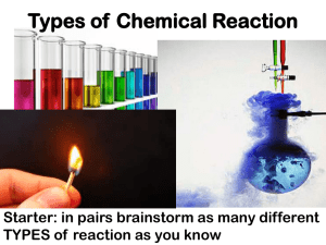 Lesson 2 – Types of Chemical Reaction