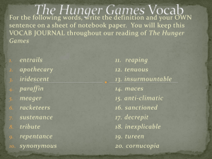 The Hunger Games Vocab - Ms. Bowers' American Lit