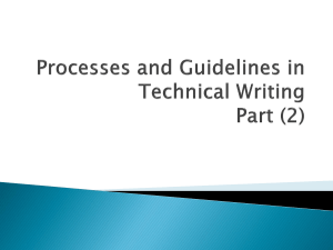 Processes and Guidelines in Technical Writing Part (2)