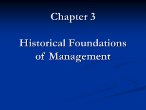 Chapter 4 Historical Foundations of Management