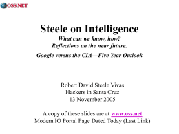 Steele on Intelligence What can we know, how?